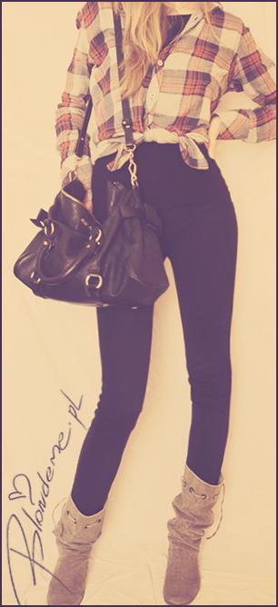 Czarne spodnie koszula krate blog
