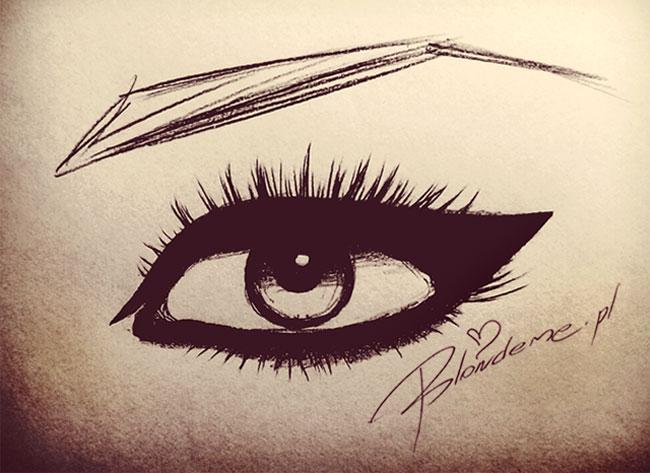 Kocie oczy rysunek kreska eyeliner makijaz na impreze