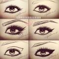 Kreski eyeliner kocie oczy rysunek makijaz