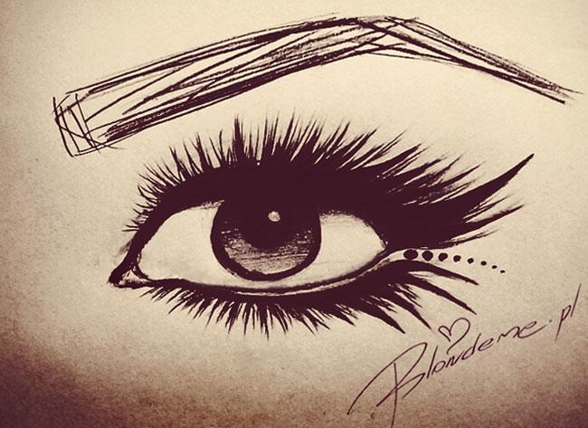 Mocny makijaz oczy rysunek kocie kreski eyeliner