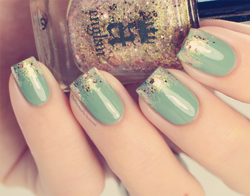 Paznokcie cieniowane francuski manicure brokatowe