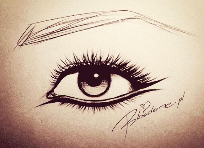 Rysunek oka makijaz kreski eyeliner kocie na impreze