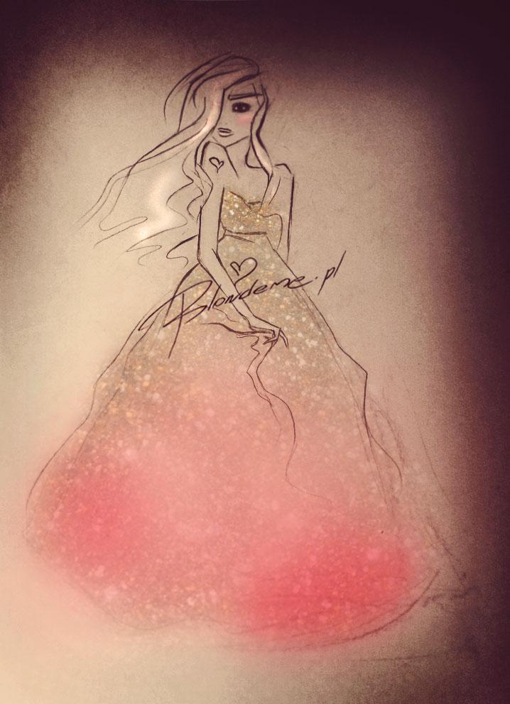 Suknia rozowa rysunek moda princessa empire