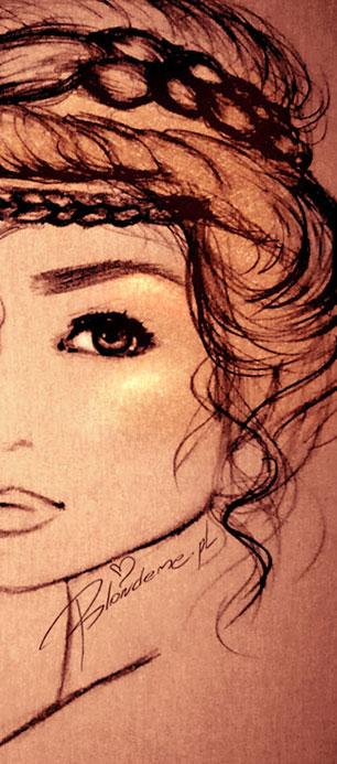 fryzura warkocze rysunek modowy blondeme