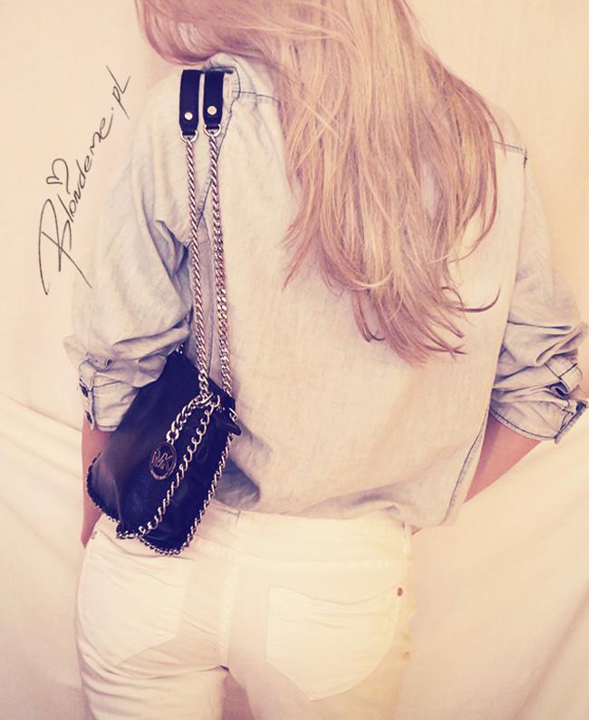Koszula w spodnie jeansowa biale rurki blondeme