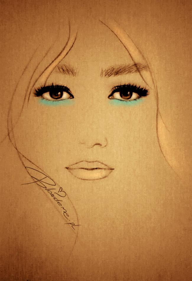 niebieski makijaz brazowych oczu rysunek moda
