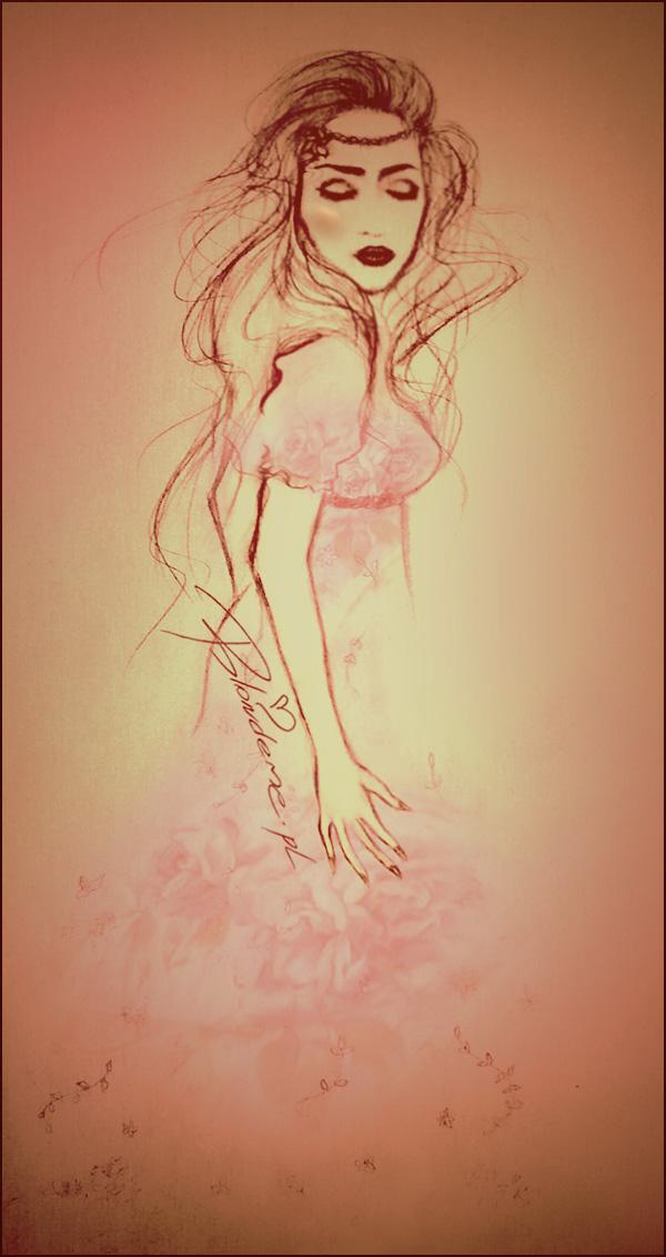 Rysunek modowy rozowa sukienka kwiaty na lato