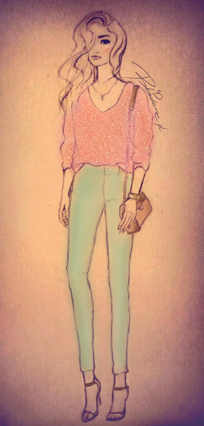 Stylizacje blog spodnie mietowe rozowy sweterek rysunek