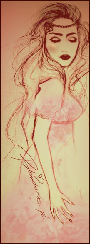 Sukienka kwiaty rysunek moda blondynka