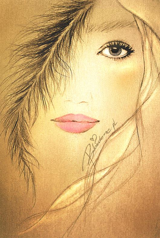 Rozowe usta makijaz dla blondynki prosty rysunek