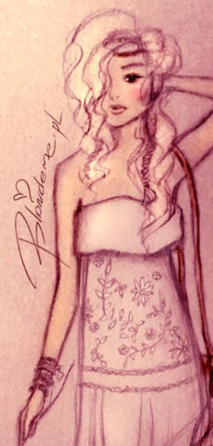 Stylizacje boho hippie biala sukienka dluga