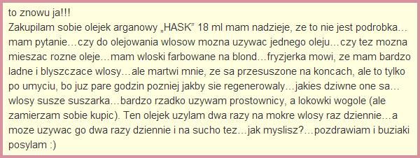 Olejek arganowy hask sklad blog