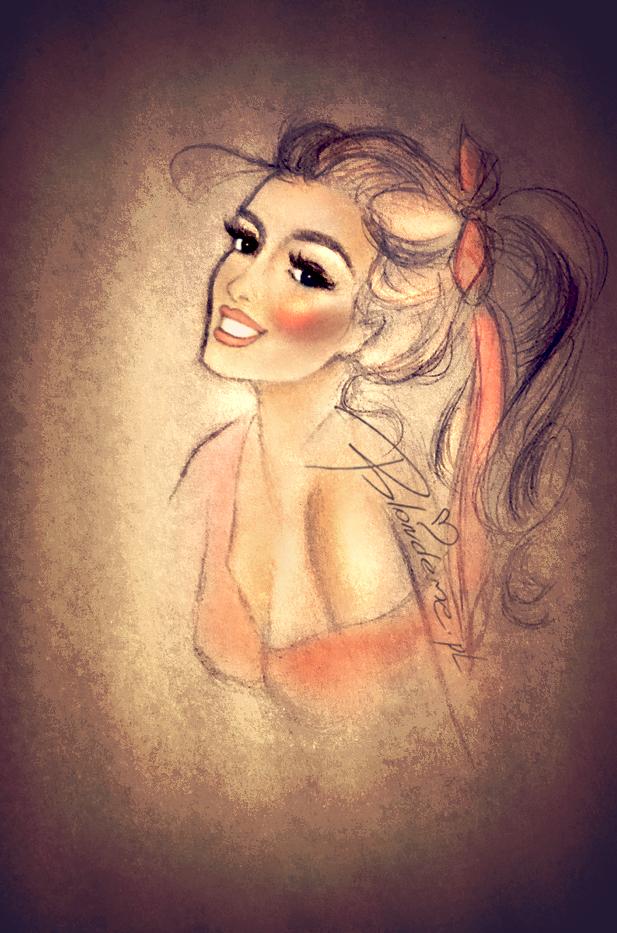 Pin-up Girl blondynka rysunek modowy blog