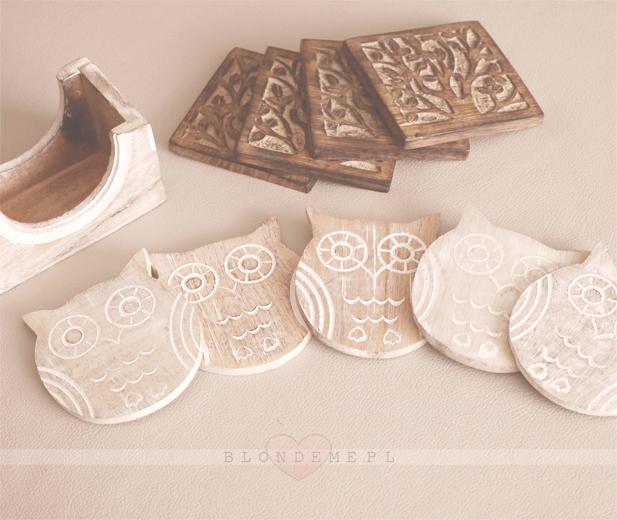 Sowa oryginalne podstawki kawa vintage blog