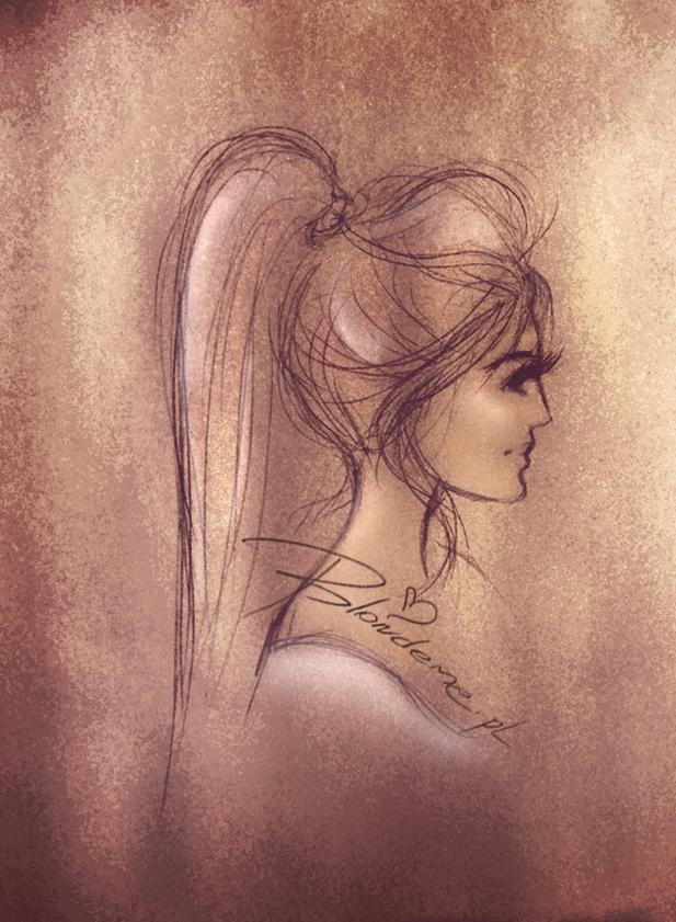 Fryzura kucyk rysunek modowy objetosc wlosow blog