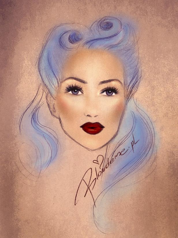 Niebieskie wlosy Pin-up Girl rysunek blog