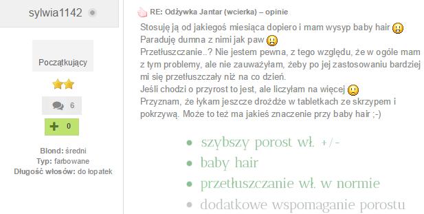Wcierka Jantar opinie baby hair blog