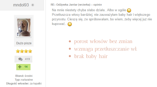 Wcierka Jantar opinie blog